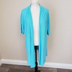 Eileen Fisher Linen Long Cardigan Short Sleeve XL